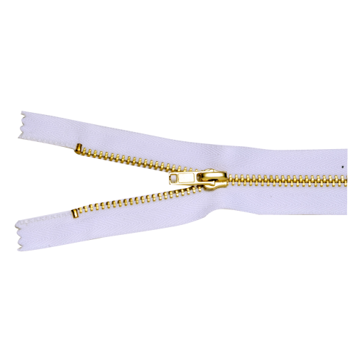 "WHITE #3 BRASS ZIPPER 30"" LONG"